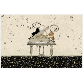 SET DE TABLE BUG ART CHATS SUR PIANO