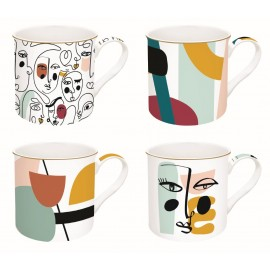 COFFRET 4 MUGS 30CL EN PORCELAINE FINE MODERNISM